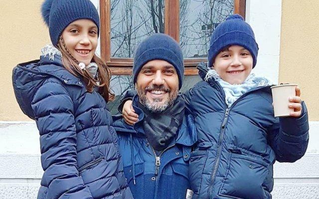 Bruno Cabrerizo com os filhos
