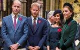 Príncipe William ao lado do irmão, Harry, Meghan Markle e Kate Middleton