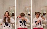 Helena Costa corta o cabelo em casa