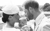 Meghan, Harry e Archie no dia do batizado