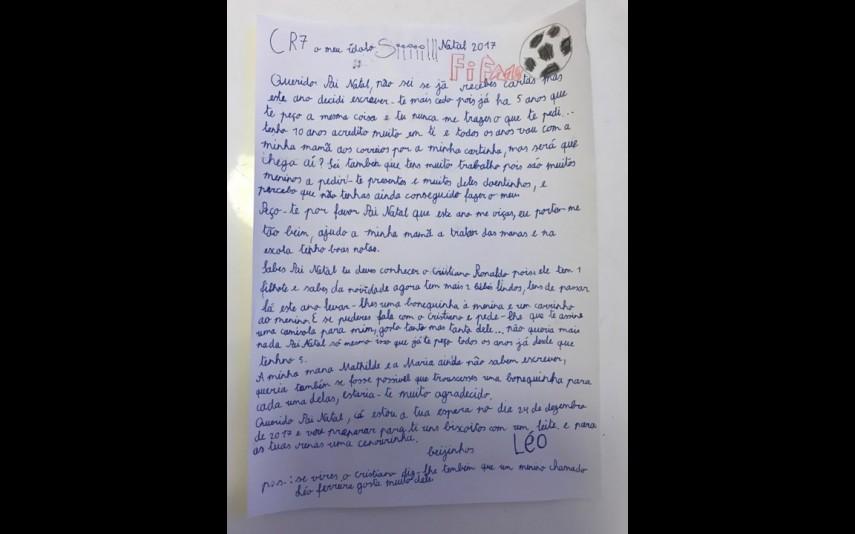 Com 10 anos, Léo Ferreira pede os seus desejos ao Pai Natal