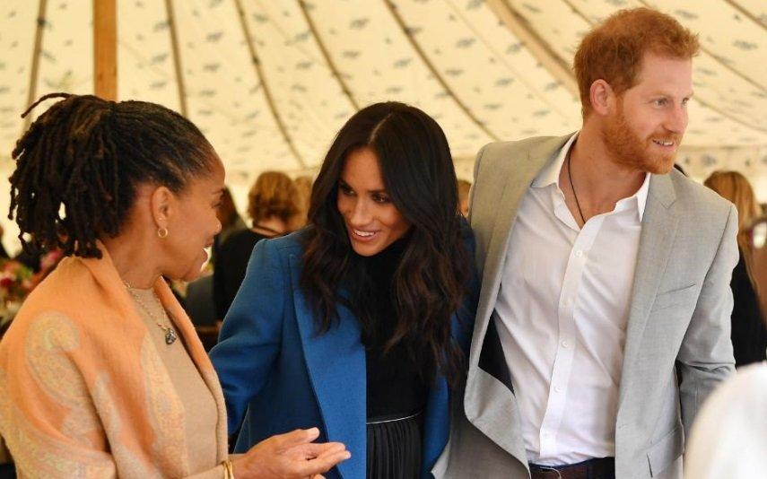 Meghan, com a mãe, Doria, e o marido, Harry