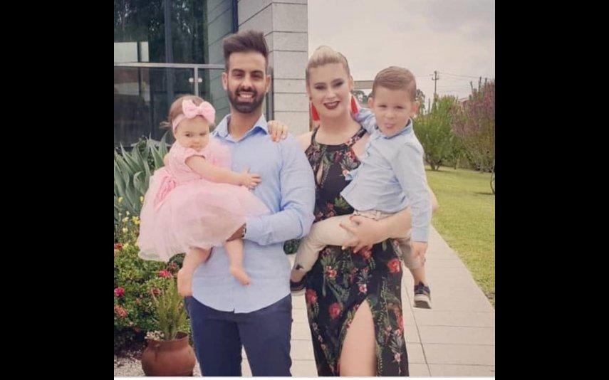 Bernardina com Pedro e os filhos
