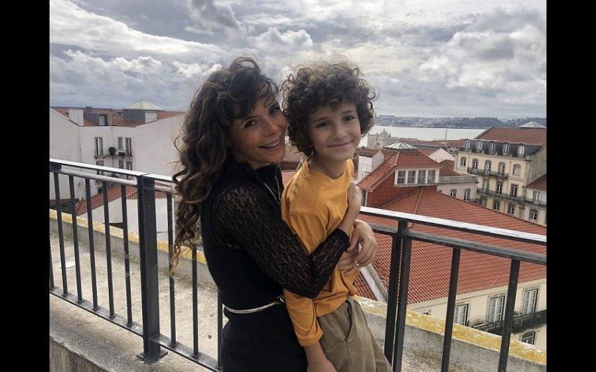 Mylla com o filho
