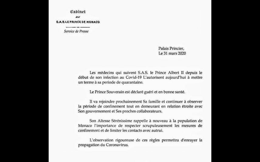 Palácio Real do Principado do Mónaco emite comunicado