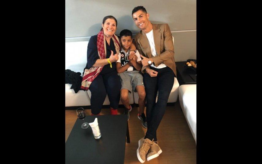 Cristiano Ronaldo com Dolores Aveiro e Cristianinho