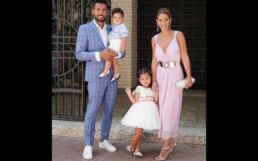 Garay com a mulher e os filhos