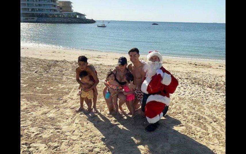 Cristiano com Gio e os filhos