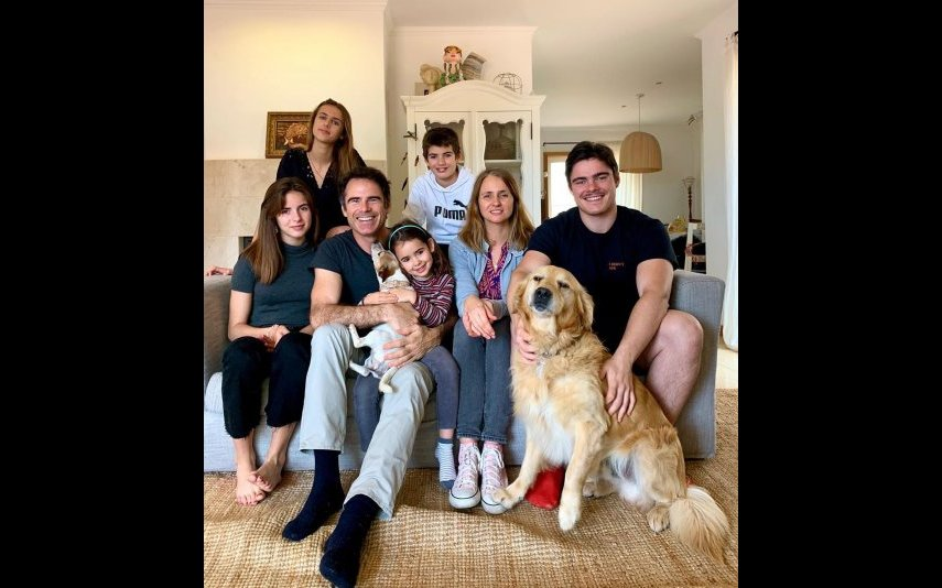 Pedro Lima com a mulher e os filhos