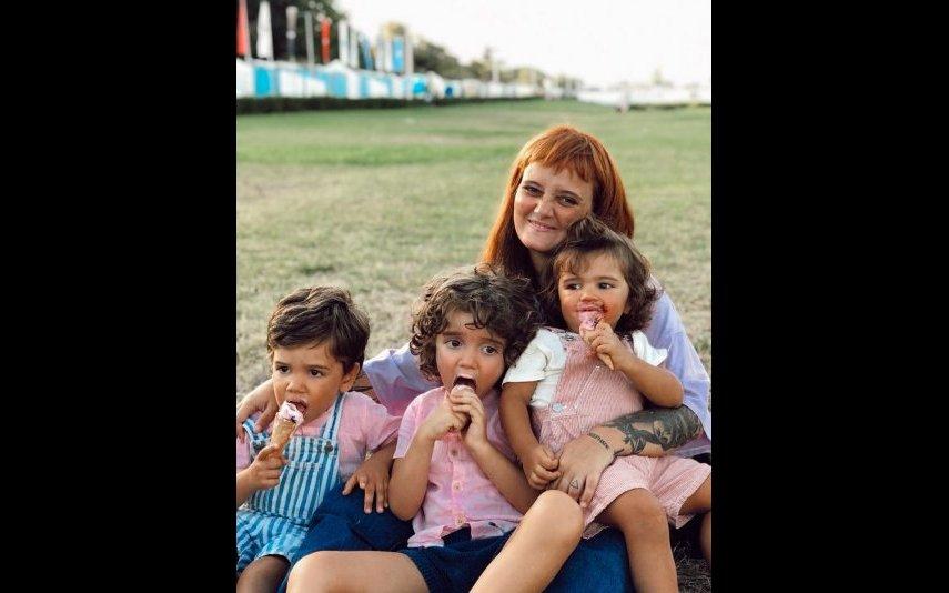 Carolina Deslandes e os filhos