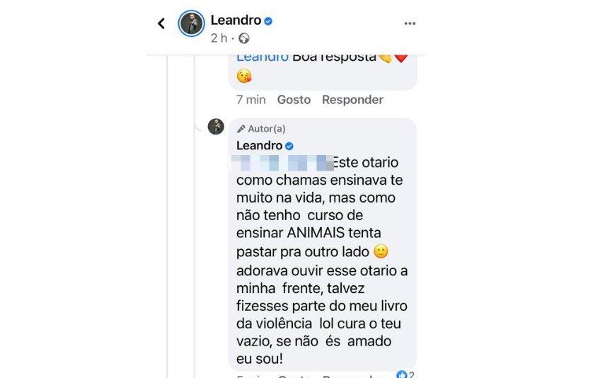 """Leandro também respondeu a seguidor que lhe terá chamado """"otário"""""""