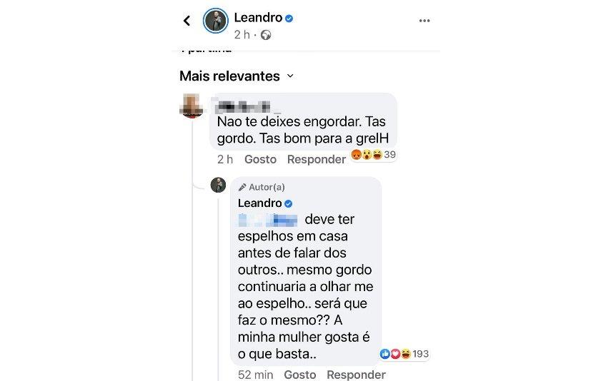 """Leandro respondeu a uma fã que lhe chamou """"gordo"""""""