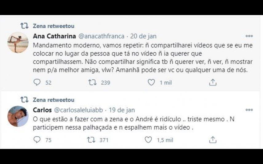 Zena partilhou os tweets de Ana Catharina e Carlos Aleluia na sua página oficial de Twitter
