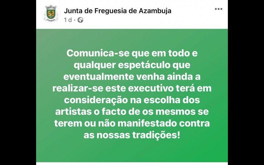 Famosos indignados com medida da Junta de Freguesia da Azambuja