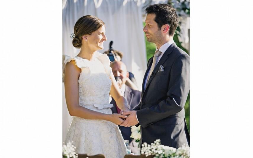 A jornalista da SIC Sara Antunes de Oliveira e o gestor de empresas João Piedade na festa de casamento a 25 de junho de 2016
