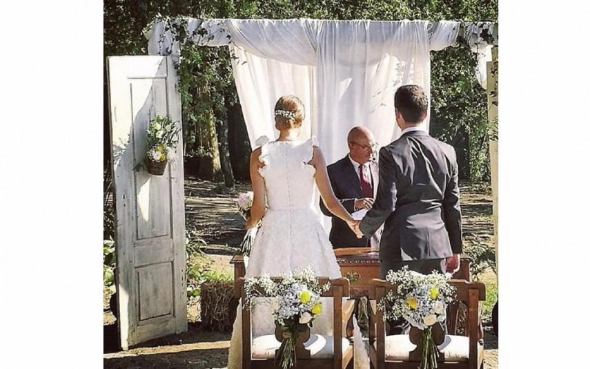 A cerimónia foi conduzida pelo pai da noiva, José Carlos Oliveira, pastor da igreja Cristã Evangélica de Leça da Palmeira
