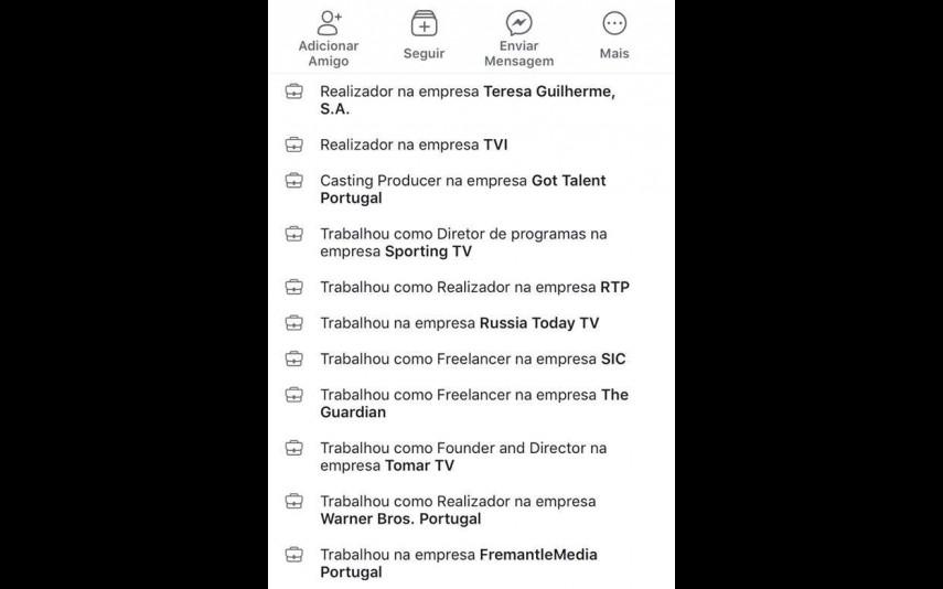Currículo de Tomás Duran no Facebook