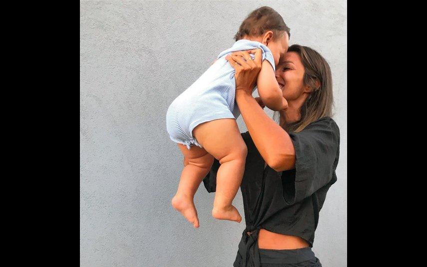 Maria Cerqueira Gomes com o filho