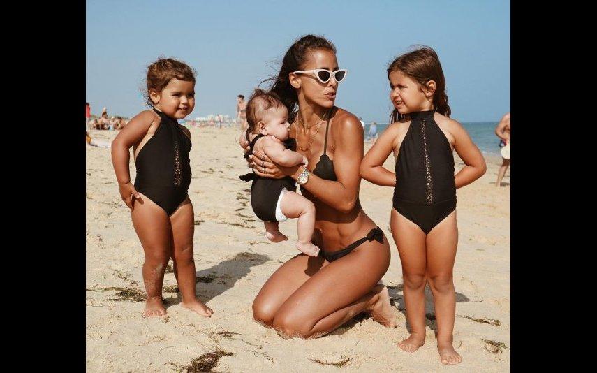 Carolina Patrocínio com as filhas Diana, Frederica e Carolina