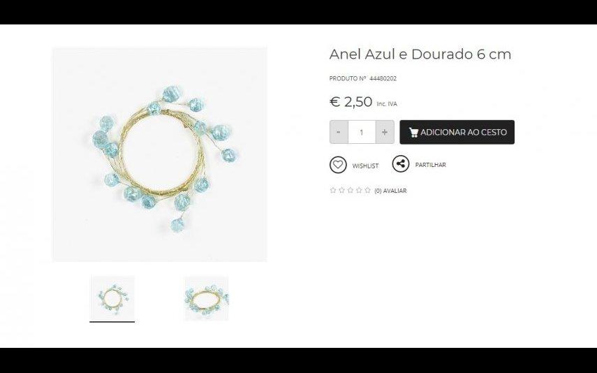 Anel Azul e Dourado - 2.50 € A Loja do Gato Preto